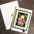 Happy Birthday Card '3D Flowers in a  Vase'