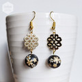 Matte Black Gold Sakura Floral Earrings
