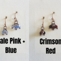 Vintage Boho style tiny cut glass bead short Cluster earrings , Pink Blue , Red