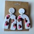 Stone-look pink splodge dangles - polymer clay earrings