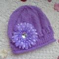 Baby girl's beanie w roll brim & chiffon flower; fits 6 - 12 months, 4-ply wool