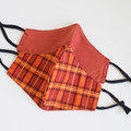 Red orange check   Reversible 3 layers Face cover Reusable Washable