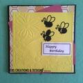 Bee Theme Happy Birthday Female Card