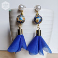 Faux Pearl Stud with Gold and Bright Blue Daffodils Earrings