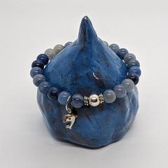 Blue aventurine gemstone bracelet with silver dolphin charm