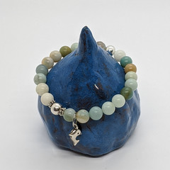Multicolour amazonite gemstone bracelet with silver dolphin charm