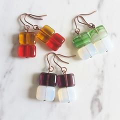 Simple minimalist square glass beaded short drop earrings , Red Purple Green