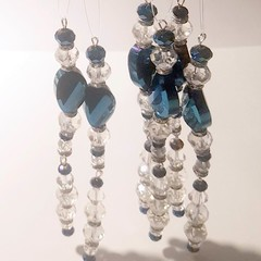Sun catcher, Christmas decoration , ornament, electric  blue crystals prism