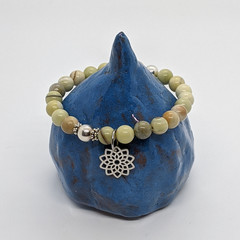 Australian butter jade gemstone bracelet with mandala charm
