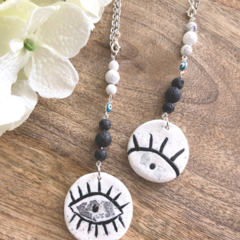 Polymer Clay Evil Eye Essential Oil Diffuser Car Charm with Howlite and Lava