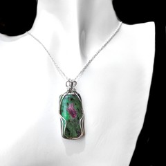 Large Ruby in Zoisite pendant, Sterling silver wire wrapped