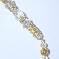 Sun catcher, Christmas decoration , ornament, gold & clear swarovski crystals
