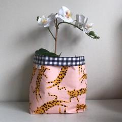 Large fabric planter | Storage basket | LEOPARDS