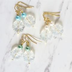Bohemian Nature style Glass flower bead pearl drop earrings , Green Blue White