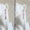 Artsy Long colourful Tribal Bohemian style seed bead bar drop earrings