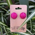 Pink Fabric Button Studs 19mm