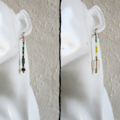 Unique Long Modern Bohemian style Glass bead bar drop earrings