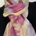 Multicoloured Silk Satin  Botanical Print Scarf