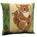 Vintage Retro Australian Koalas & Wildflowers (flowering Gum) Linen Cushion
