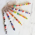 Artsy Long colourful Tribal Bohemian style seed bead bar drop earrings