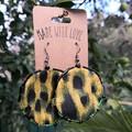 Round Leopard Print Dangle Earrings