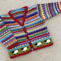 Red 'Sheep'Cardigan - Size 1-2 years- Hand knitted