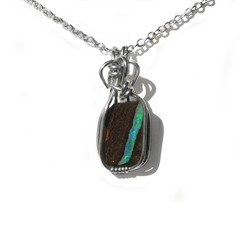 Rough Boulder opal pendant, unisex Sterling silver wire wrapped