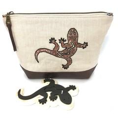 Leather & Linen Zipper Bag, Hand-embroidered Clutch Purse,  Gecko Block Print