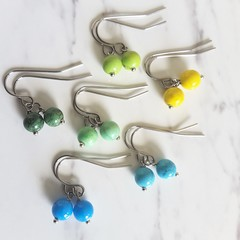 Dainty Bohemian style Small round marble stone drop earrings , Blue Green Yellow