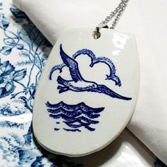 Dutch Delft Blue  Seagull Pendant