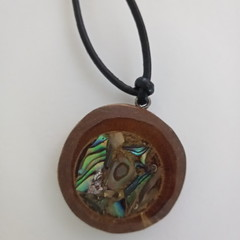 Tibouchina Wood and Paua Shell Essential Oil or Perfume leather cord pendant