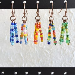 Colourful seed bead tassel / fringe dangling earrings , Rainbow Red Green Blue