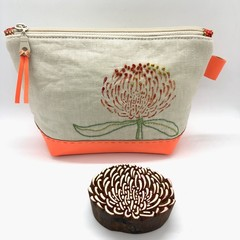 Leather & Linen Zipper Bag, Hand-embroidered Clutch Purse, Flower print, Orange