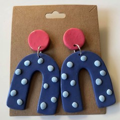 Blue spot and pink top dangles - polymer clay earrings