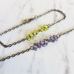 Unique Modern art seed bead black metal hoop linked ring Bracelet , Purple Green