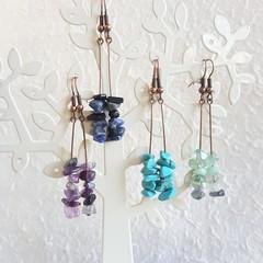 Simple Tropical Bohemian Long Gemstone chip dangle earrings , Blue Green Purple