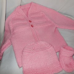 Baby Jacket/Cardigan + Booties + Beanie(New Born)