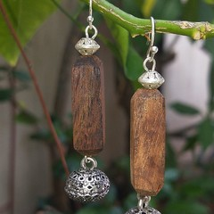 Long hexagonal shaped balsa wood earring hangers with Bali silver beads.