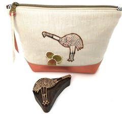 Leather & Linen Zipper Bag, Hand-embroidered Clutch Purse, Emu block print