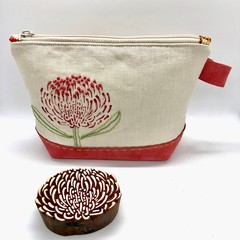 Leather & Linen Zipper Bag, Hand-embroidered Clutch Purse, Flower print, Pink