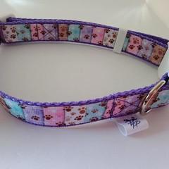 Purple paw print adjustable dog collars small / medium