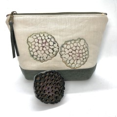 Leather & Linen Zipper Bag, Hand-embroidered Clutch Purse, Lotus Pod print
