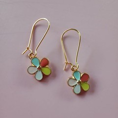 Gold and enamel flower charm earrings