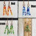 Colourful seed bead tassel / fringe dangling earrings , Rainbow Red Green Blue