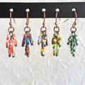 Dainty Antique Tribal style bead Tassel dangling earrings , Rainbow Red Green