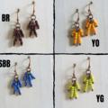 Dainty Antique Hippie bead Tassel dangling earring , Black Red Blue Green Yellow