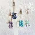 Simple Tropical Bohemian Long Gemstone chip dangle earrings , Blue Green Purple