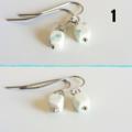 Simple Minimal Modern style tiny cube marble stone drop earrings