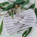 100% Pure Wool Adult Ladies Vintage Hand Crochet Knitted Earwarmers / Headbands