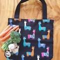 "Market Tote Bag "" Llamas on Black"""